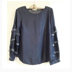 Antropologie Top Blue Stepped Sleeve With Fringes